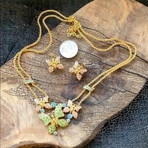 Trifari Butterfly Gold Necklace and Earring Set